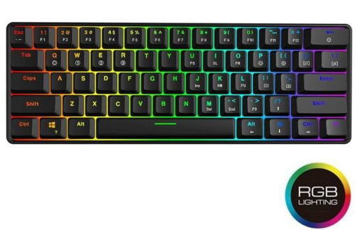 12.GK61 Mechanical Gaming Keyboard - 61 Keys Multi Color RGB Illuminated LED Backlit Wired Gaming Keyboard