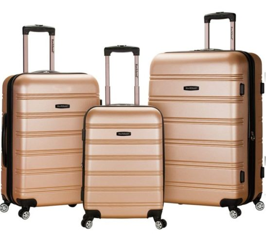 12.Rockland Melbourne Hardside Expandable Spinner Wheel Luggage, Champagne,