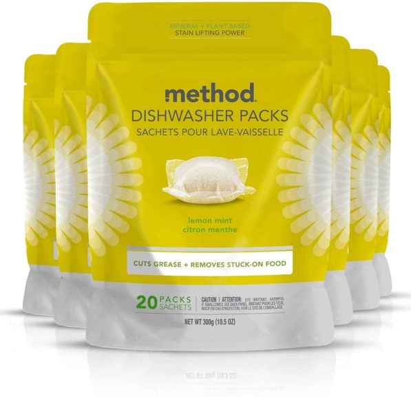 14.Method Power Dish Dishwasher Soap Packs, Lemon Mint, 20 Count (Pack of 6)