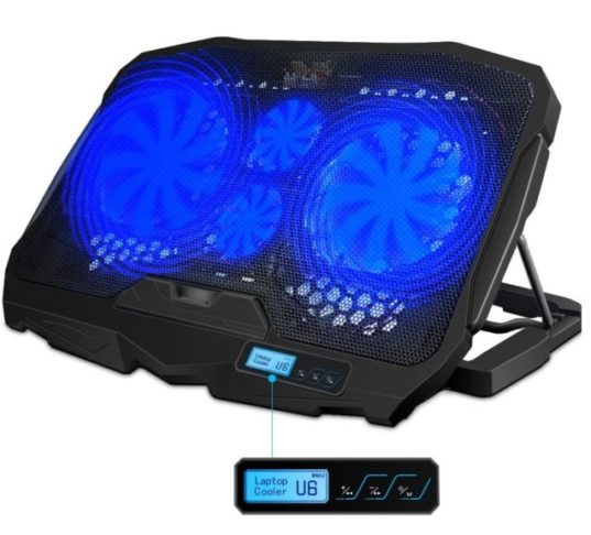 15.AICHESON Laptop Cooling Pad Blue LED Lights 1.68LB for 10-15.6 PC