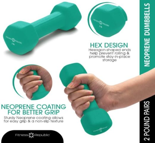 15.Fitness Republic Neoprene Dumbbell Set of 2, 2-20 Pounds Sets Non-Slip, Hex Shape, Free weights set for Muscle Toning, Strength Building,