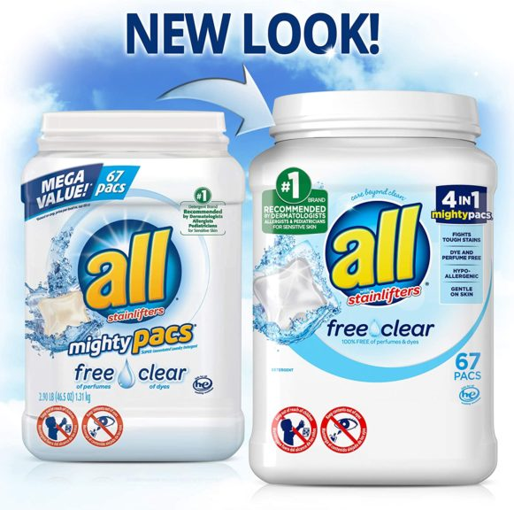 2.all Mighty Pacs Laundry Detergent, Free Clear for Sensitive Skin, 67 Count, 2 Tubs, 134 Total Loads
