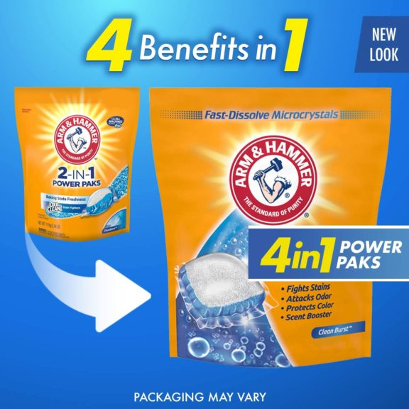 3.Arm & Hammer 4-in-1 Laundry Detergent Power Paks, 97 Count (Packaging may vary)