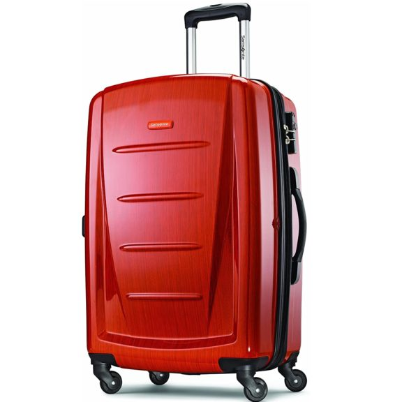 3.Samsonite Winfield 2 Hardside Expandable Luggage with Spinner Wheels, Orange, Checked-Large 28-Inch