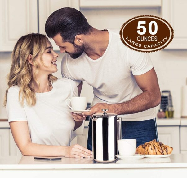 3.Secura French Press Coffee Maker, 304 Grade Stainless Steel Insulated