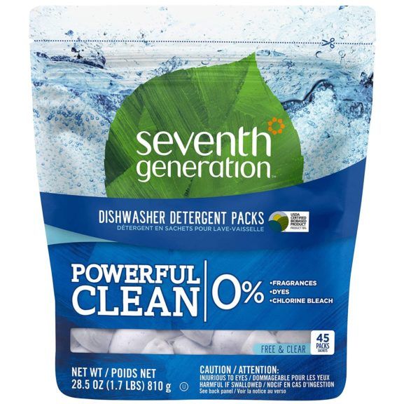 3.Seventh Generation Dishwasher Detergent Packs, Free & Clear, 45 count
