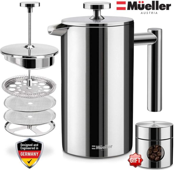 5.Mueller French Press 20% Heavier Duty Double Insulated 310 Stainless Steel Coffee Maker