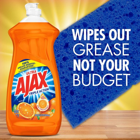 7.Ajax Triple Action Dish Liquid - Orange, 28 Fluid Ounces
