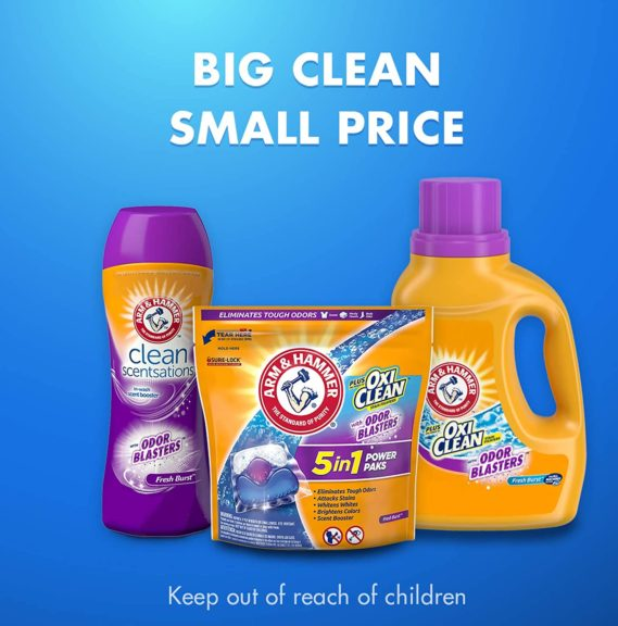 7.Arm & Hammer Plus OxiClean With Odor Blasters UNIT DOSE LAUNDRY DETERGENT 5-IN-1 Power Paks, 40CT (Packaging may vary)