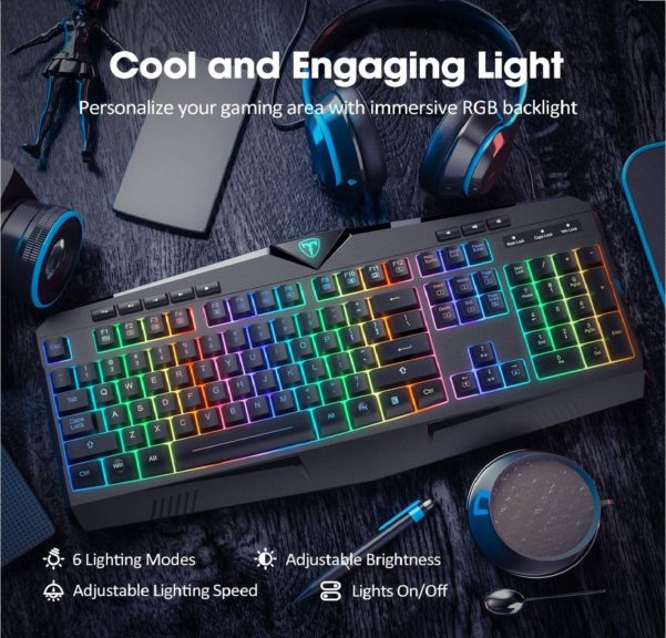 7.PICTEK RGB Gaming Keyboard USB Wired Keyboard, Crater Architecture Backlit Computer Keyboard with 8 Independent