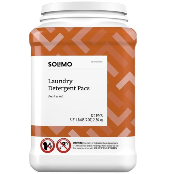 8.Amazon Brand - Solimo Laundry Detergent Pacs, Fresh Scent, 120 count