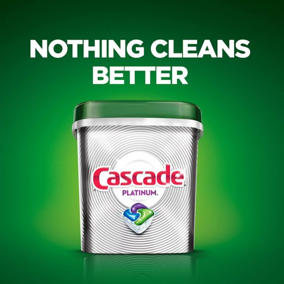 8.Cascade Platinum Dishwasher Detergent ActionPacs, Fresh, 36 count
