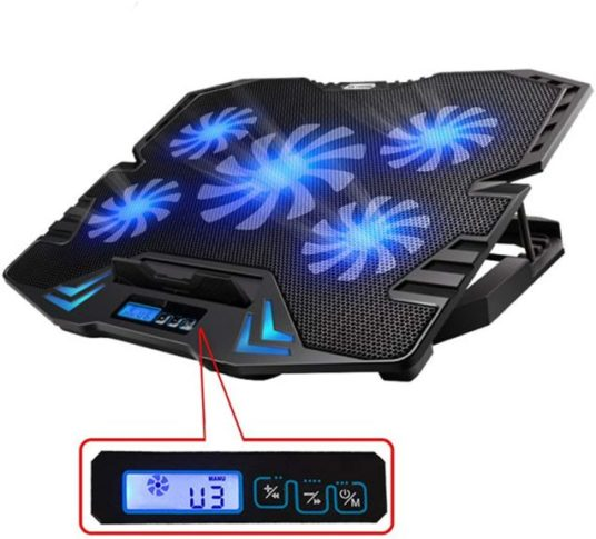8.opMate C5 12-15.6 inch Gaming Laptop Cooler Cooling Pad 5 Quiet Fans and LCD Screen
