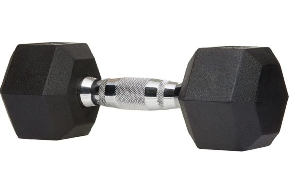 9.AmazonBasics Rubber Encased Hex Hand Dumbbell Weight