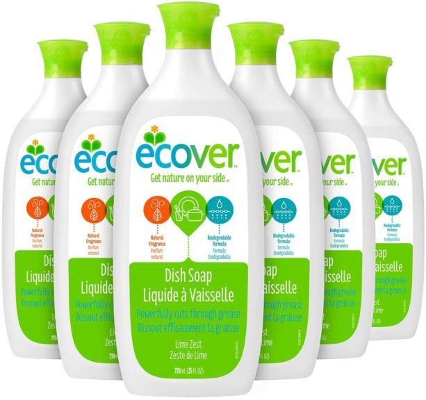 9.Ecover Dish Soap, Lime Zest, 25 Ounce (Pack 6)
