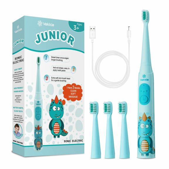 9.Vekkia Dragon Lord Sonic Rechargeable Kids Electric Toothbrush, 3 Modes With Memory, Fun & Easy Cleaning