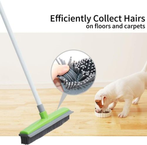 FamilyDate 2.3 ft to 4.5 ft TPR Natural Telescoping Handle Pet Hair Remover Rubber Broom