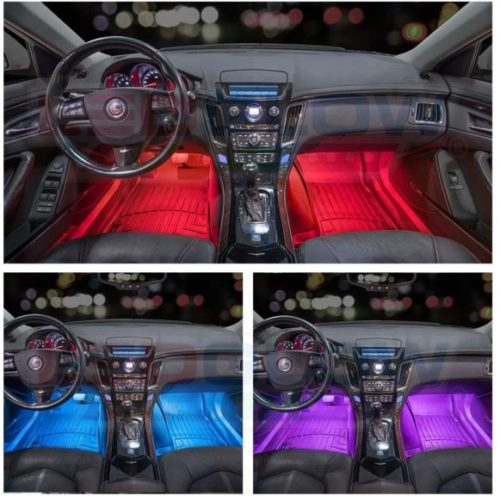 LEDGlow 4pc Multi-Color LED Interior Footwell Underdash Neon Light Kit for Cars & Trucks