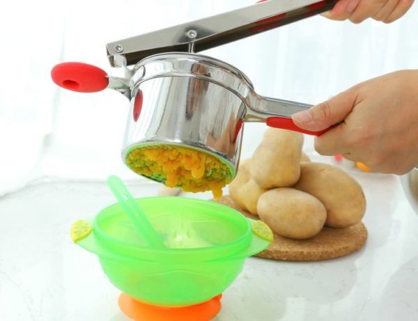 Rorence Stainless Steel Potato Ricer with 3 Interchangeable Discs & Inner Cup & Silicone Grip Handles