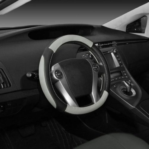 SEG Direct Black and Gray Microfiber Leather Steering Wheel Cover