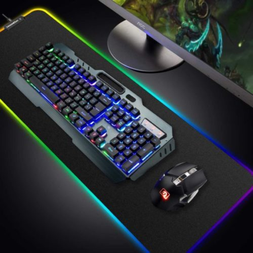 Wireless Gaming Keyboard and Mouse Combo,3 in 1 Rainbow LED Rechargeable Keyboard Mouse