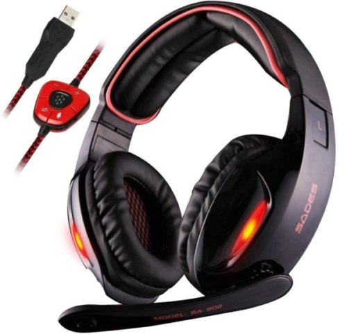 5. Sades Gaming Headset 7.1 Channel Virtual Surround Stereo Wired with Mic and LED Licht