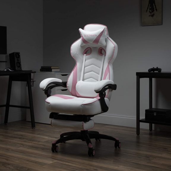 1. RESPAWN 110 Racing Style Gaming Chair, Reclining Ergonomic Leather Chair with Footrest, in Pink