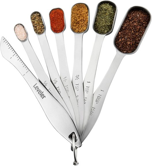 1. Spring Chef Heavy Duty Stainless Steel Metal Measuring Spoons for Dry or Liquid