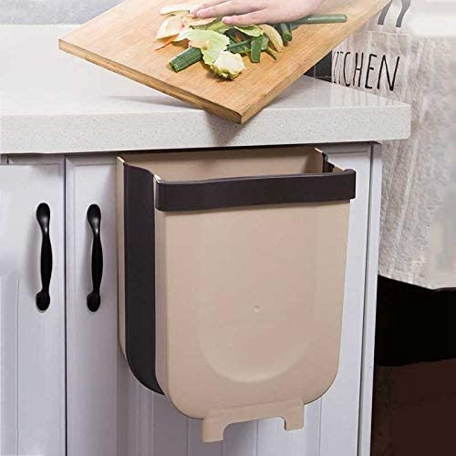10. Kitchen Hanging Trash Can, Collapsible Trash Bin Small Compact Garbage Can for Kitchen Cabinet Door