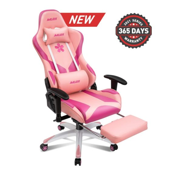 10. Muzii Pink Gaming Chair with Footrest, High-Back PU Leather Office Chair with Headrest
