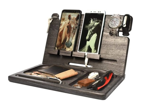 10. Wood 2 Cell Phone Stand Smartwatch Wallet Holder. Man Cave Multiple Gadget Dock Mobile Accessory Organizer