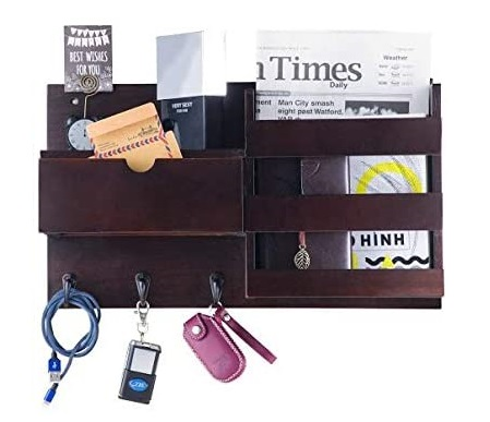 11. NHZ Wooden Wall Mount Entryway Mail Envelope Organizer with Drawer