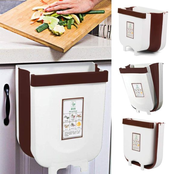 11. Vapeart Hanging Trash Can for Kitchen Cabinet Door
