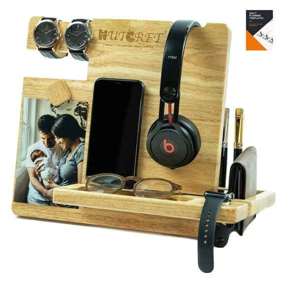 12. WUTCRFT - Wood Docking Station,Nightstand Organizer with Headphone Stand