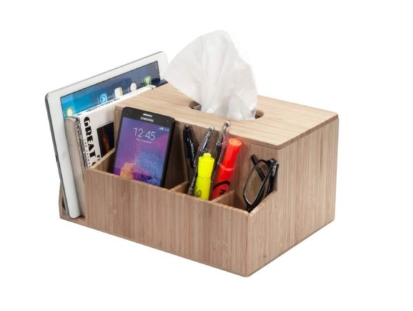 13. MobileVision Bamboo Tissue Box Holder & Tablet Stand Organizer