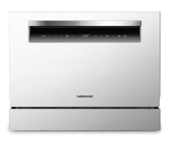 14. Farberware FCD06ASSWHB Countertop Dishwasher, 6 Piece, White with Chrome Handle