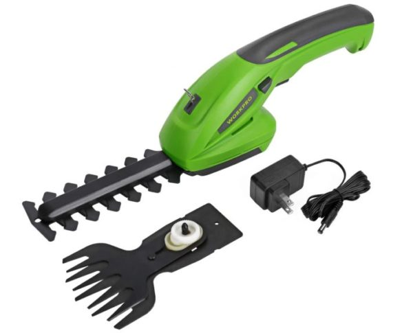 2. WORKPRO 7.2V 2-in-1 Cordless Grass Shear + Shrubbery Trimmer - Handheld Hedge Trimmer