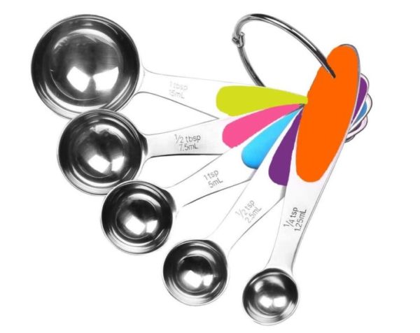 4. Fsdifly-Stainless Steel Measuring Spoons 5 Piece Stackable Set