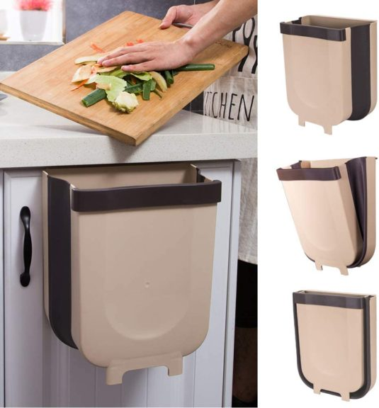 4. Yibaision Hanging Trash Can for Kitchen Cabinet Door