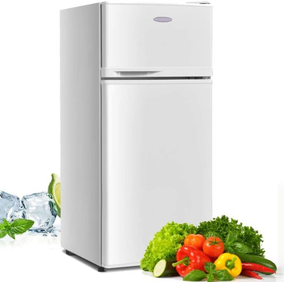 6. Compact Refrigerator, Safeplus 3.4 cu ft. Unit Cold-rolled Sheet Mini Refrigerator with freezer, Dorm fridge