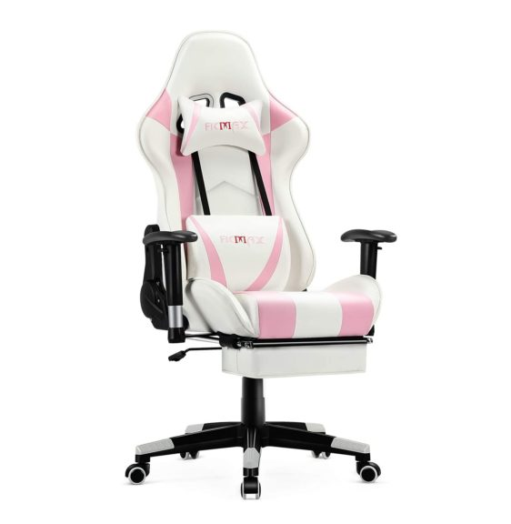 6. Ficmax Girl Gaming Chair Ergonomic Massage Gaming Computer Chair with Footrest