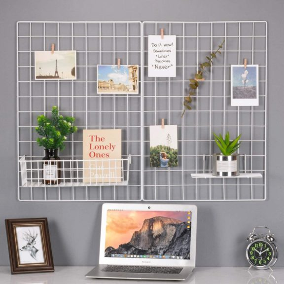6. Kaforise Wire Wall Grid Panel, Multifunction Painted Photo Hanging Display and Wall Storage Organizer