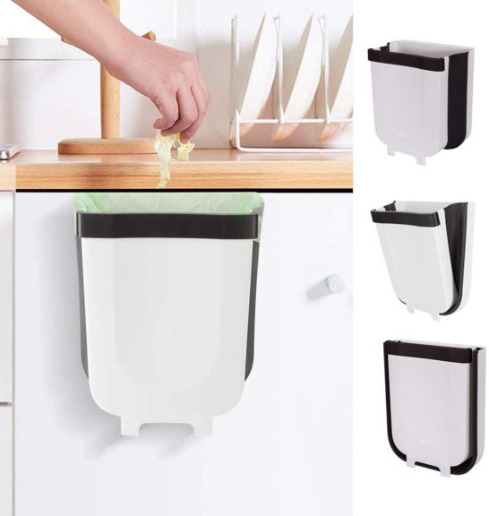 7. Kitchen Hanging Trash Can, Collapsible Trash Bin Small Compact Garbage Can