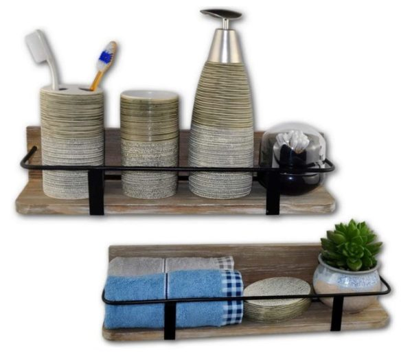 8. Spiretro Set of 2 (Large & Small) Grey Wall Mount Floating Shelves Rustic Torched Wood