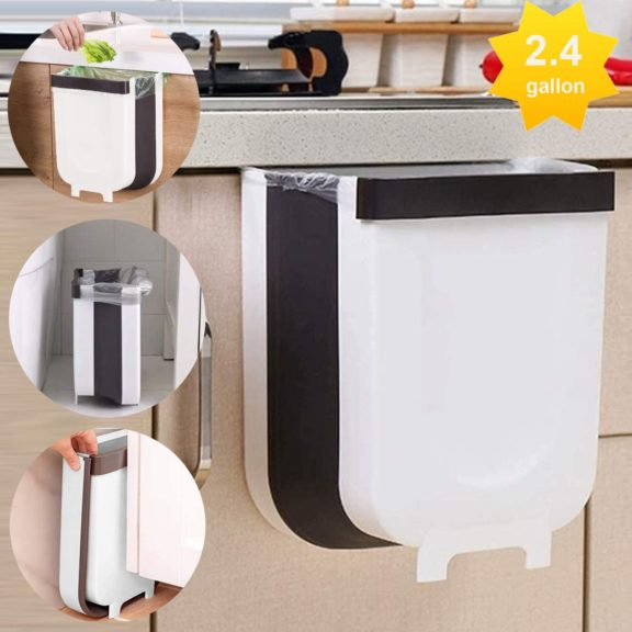 9. LALASTAR Hanging Small Trash Can for Kitchen, Foldable Trash Bin for Kitchen Cabinet Door