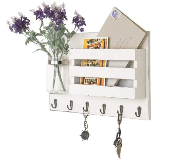 9. MyGift Wall-Mounted Vintage White Wooden Mail Holder Organizer