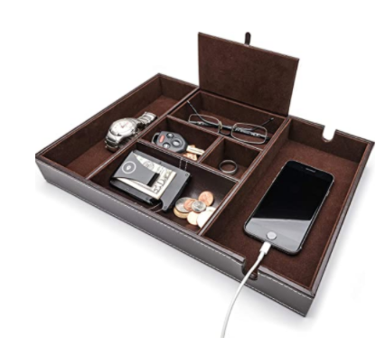 9. West End Warehouse Nightstand Organizer, Valet Tray for Men and Women