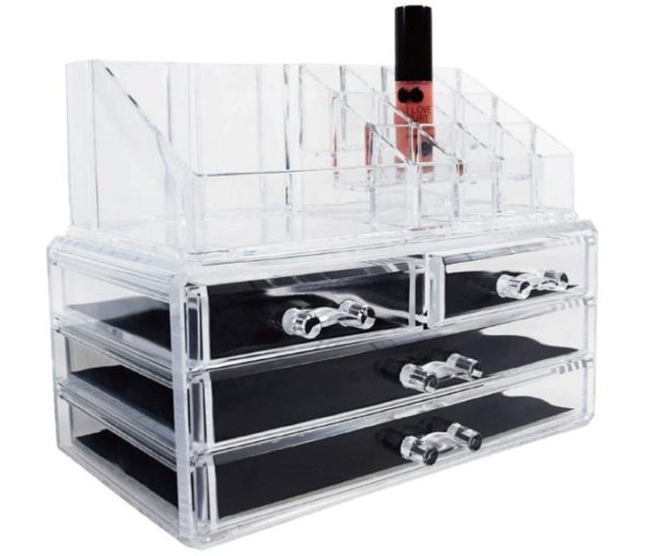 1. Ikee Design Jewelry Makeup Cosmetic Storage Organizer Two Pieces Set