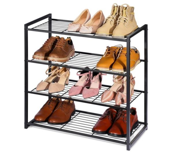 10. Titan Mall Shoe Organizer Free Standing Shoe Rack 4 Tier Shoe Rack Black Metal Shoe Rack 25 Inch