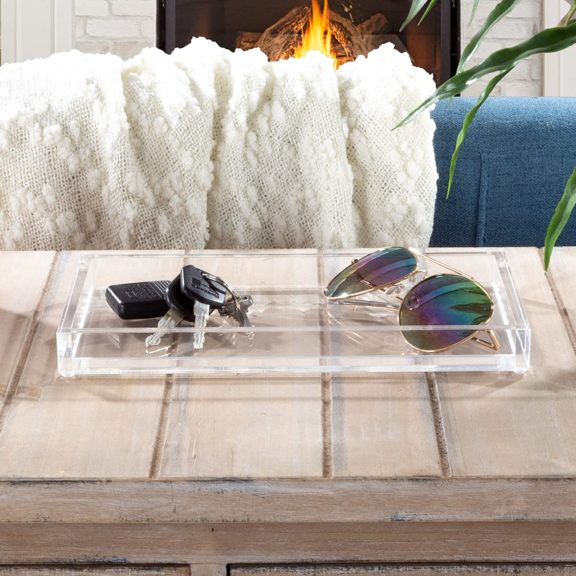 12. Lavish Home Acrylic Catchall Tray-Decorative Clear Rectangular Modern Minimalist Valet Organizer for Bedside